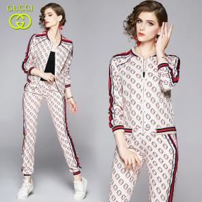 ensemble Tracksuit women gucci zip up tracksuit dual pockets pants khaki